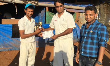 Man of the Match: Lalit Sharma (Arbuda Agro) with Axis Veteran Ashish Bisht (centre) and Beyond Infinity CEO Devashish Rai (right)