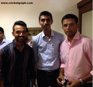 Jayesh Kulkarni with Rahul Dravid and Ajinkya Rahane
