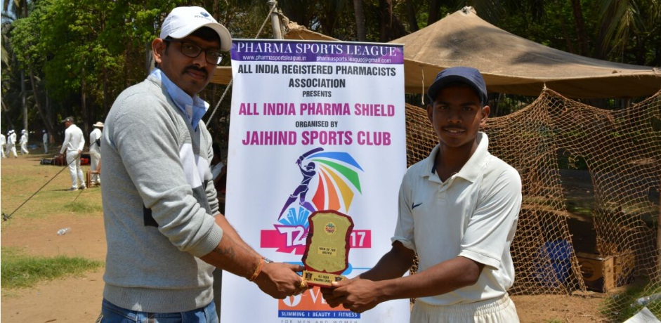 Man of the Match - Harsh Mishra (All India registered pharmacist Association Team) 5 wkts