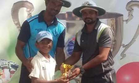 Talented kid Herambh Karbhari scores 41 and also takes 3wkts to steer IES Mulund to a win in the Singhania U-16 Tournament