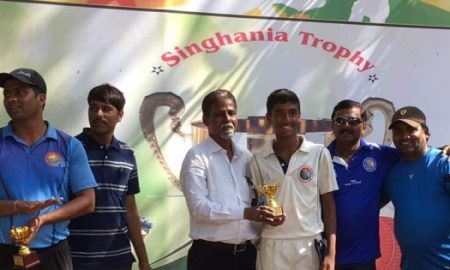 Jay Dhatrak's 115* and a hat-trick alongwith Nirek's 6/14 derails Dnyanganga in the Singhania U-16 Tournament