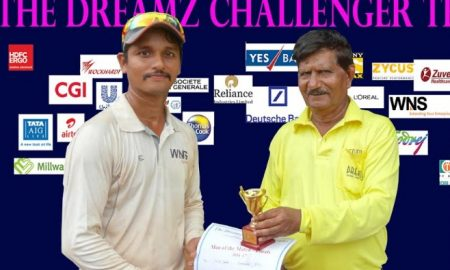 Mandar Garude's all-round perfomance helps WNS win the finals of the Dreamz Challenger Trophy (Plate C)