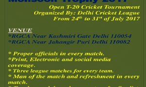 Monsoon Trophy 2017 Open T-20 Cricket Tournament Delhi