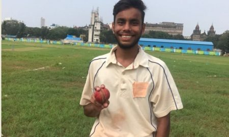 Rushap Shinde takes a fifer for Fort Vijay CC vs New Hindu in the ongoing Kanga League 2017