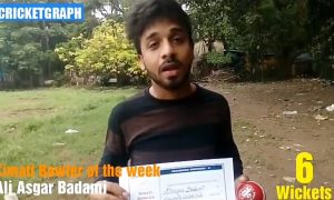 Ali asgar Badami Bowler of the week award