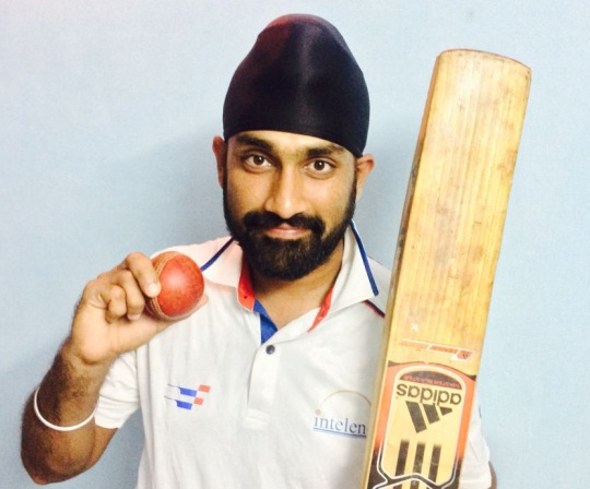 Wily off-spinner Oninder Singh Gill takes 7/51 vs D.P.C Sports Club in the ongoing Kanga League 2017