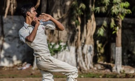 Medium Pacer Vishal Hate strikes a punch with his fifer vs Young Friends CC in the Kanga League 2017