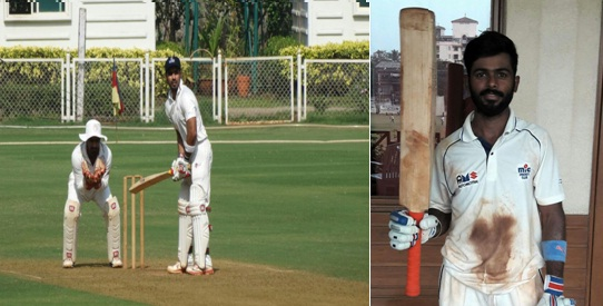 Opener Sumit Ghadigaonkar scores back to back double ton while also stitches an epic 299run stand with Siddarth Chitnis in the Police Shield Tournament '17